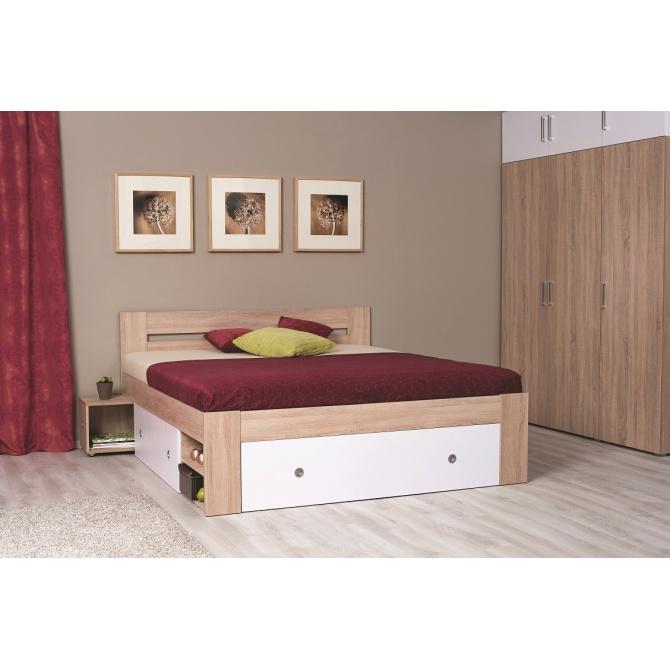 169ced1df045b Manželská posteľ s úložným priestorom, nočnými stolíkmi a roštami.