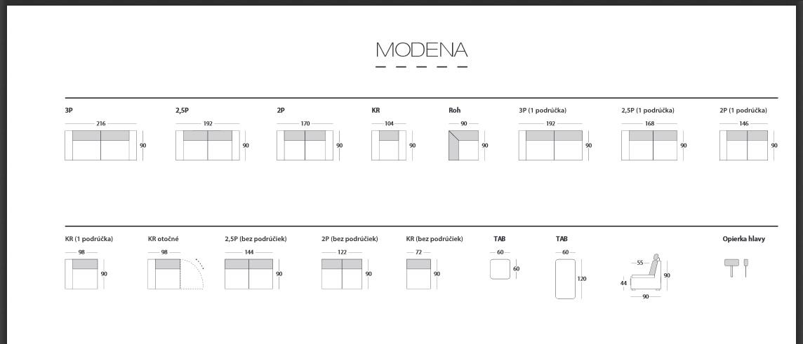 Modena rozmery